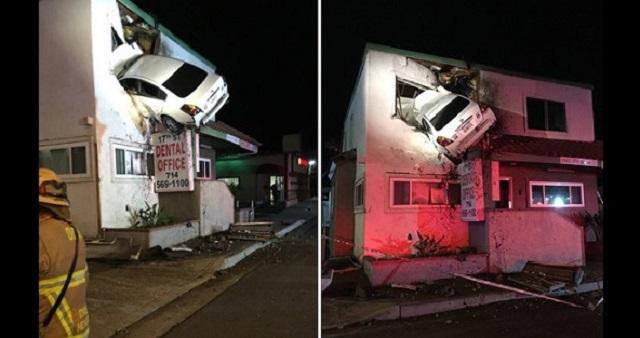 【衝撃映像】歯医者の2階に突っ込んだ車!なぜこんなことに…?監視カメラに「驚愕の瞬間」が残されていた・・・