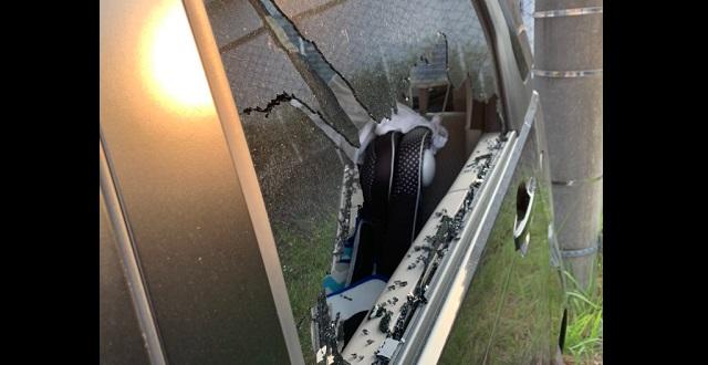 【驚愕】仕事後に車を見ると後部座席のガラスがバリバリに!→ 車上荒らしかと警察を呼んだら…まさかの原因だった!!